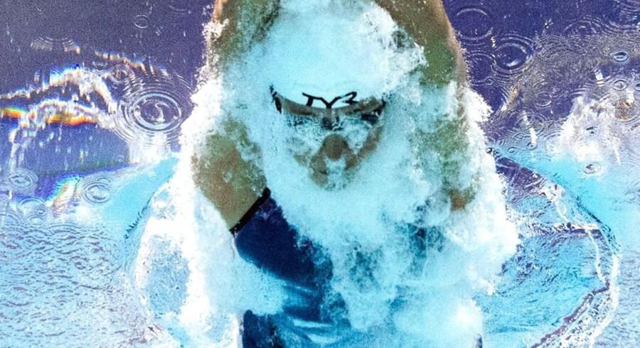 Lotte Friis fotograferet med undervandskamera under finalen i 1500 meter fri i FINA-verdensmesterskaberne i Kazan, 2015.