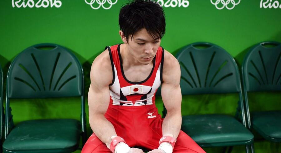 Pokémon Go-landeplagen er blevet et dyrt bekendtskab for den japanske guldmedaljevinder Kohei Uchimura. Han har fået en ekstraregning på mobildata på 33.000 kroner under sit ophold i Rio de Janeiro op til OL. Foto: Dylan Martinez, Reuters/Scanpix
