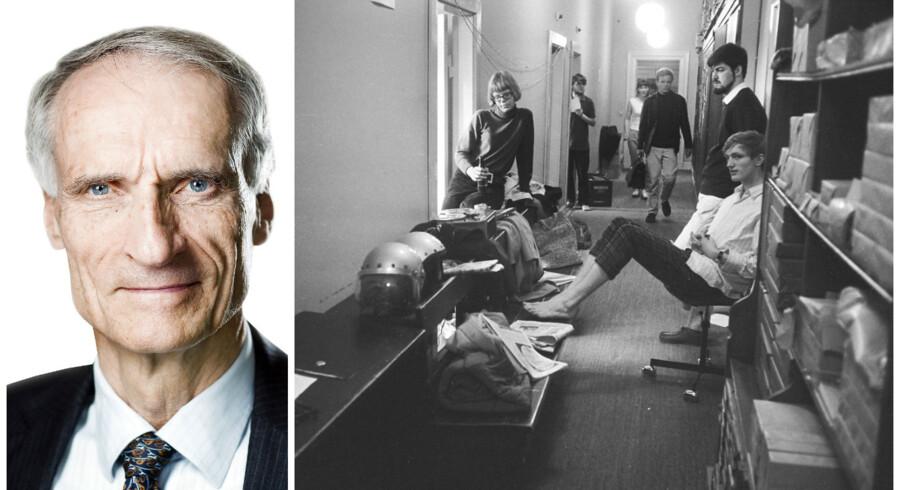 Foto fra de studerendes besættelse af Københavns Universitet i 1968.