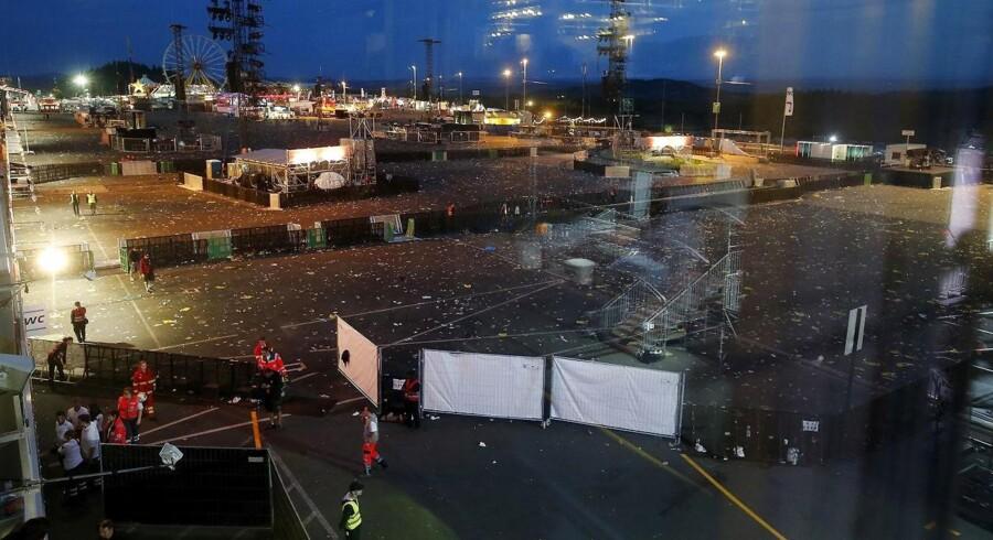 Festivalpladsen efter Rock am Ring blev evakueret.