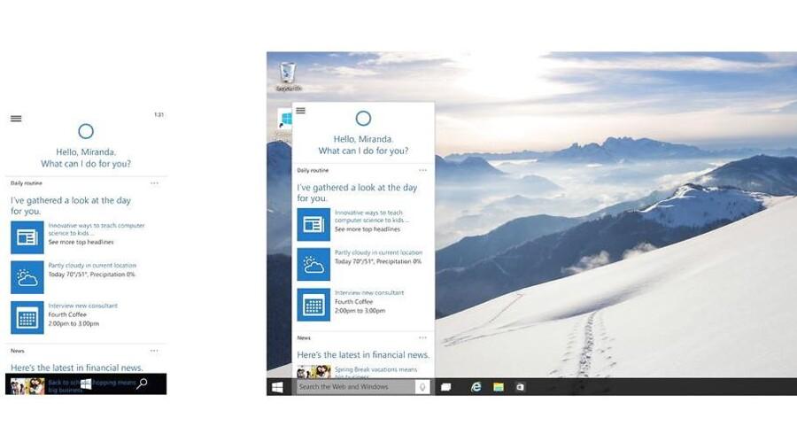 Microsofts personlige, digitale assistent Cortana har i et års tid huseret på Windows-telefoner. Nu rykker assistenten ind - med Einsteins hjælp - på PCer og tavle-PCer - og sågar ind på konkurrenternes enemærker: til både iOS- og Android-telefoner. Arkivfoto: EPA/Microsoft/Scanpix