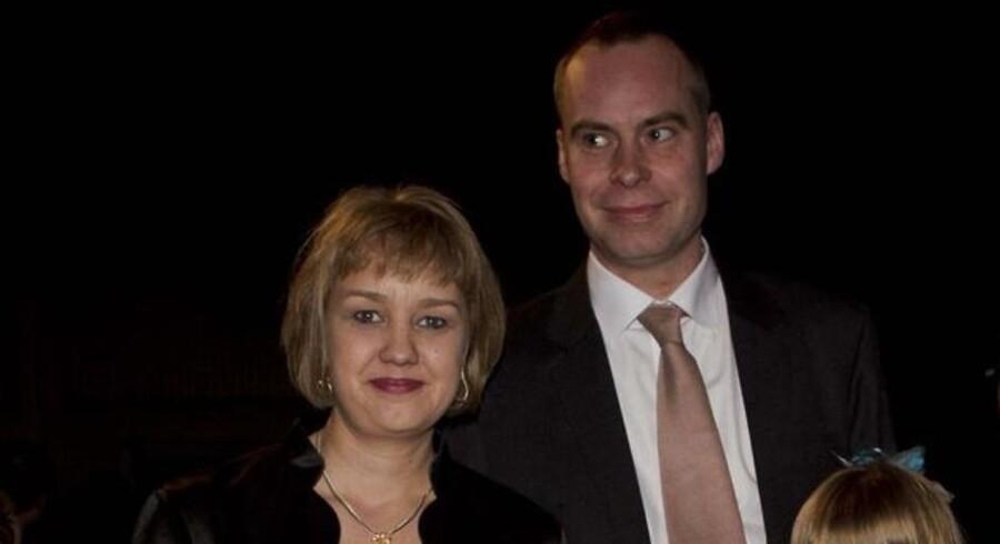 Arkivfoto af Jane Jegind og hendes mand ved Melodi Grand Prix i Odense Kongrescenter 2014.