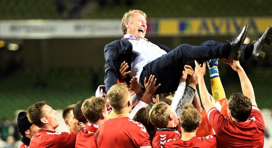 Åge Hareide har modtaget en fornem hæderspris i Norge, blandt andet efter at have ført det danske landshold til VM næste år. Reuters/Clodagh Kilcoyne