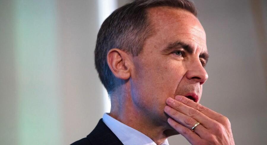 Chefen for Bank of England, Mark Carney, holdt torsdag pressekonference, hvor han lancerede kommende pengepolitiske lempelser for at holde hånden under den britiske økonomi, Foto: Matt Dunham