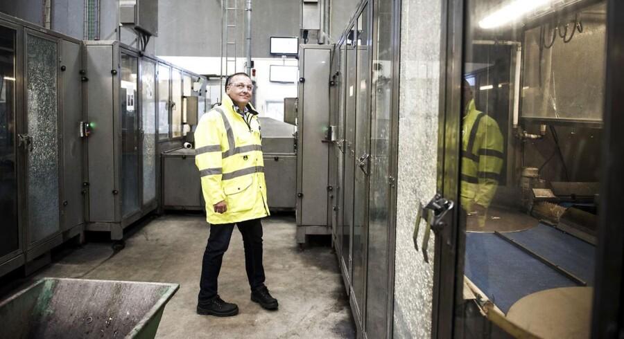 .Lars Krejberg Petersen, direktør i Dansk Retursystem, hos Dansk Retursystems hovesæde i Hedehusene, hvor der efterhånden er pres på.