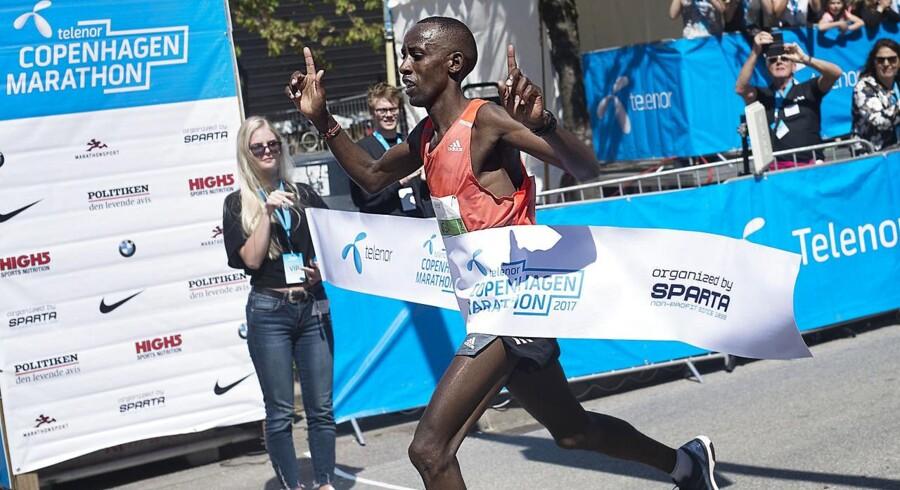 Søndag d. 21. maj 2017 afholdes Copenhagen Marathon i København. Vinderen blev løberen Julius Ndiritu Karinga fra Kenya med en tid på 02.12.11. (Foto: MARIE HALD/Scanpix 2017)