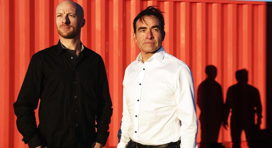 »Det her skal være det største i verden. Det har været planen fra start,« siger Tony Motzfeldt (til højre) om den virtuelle løbetræner, han har udviklet sammen med blandt andre Jacob Gliese (til venstre). Foto: Olafur Steinar Gestsson