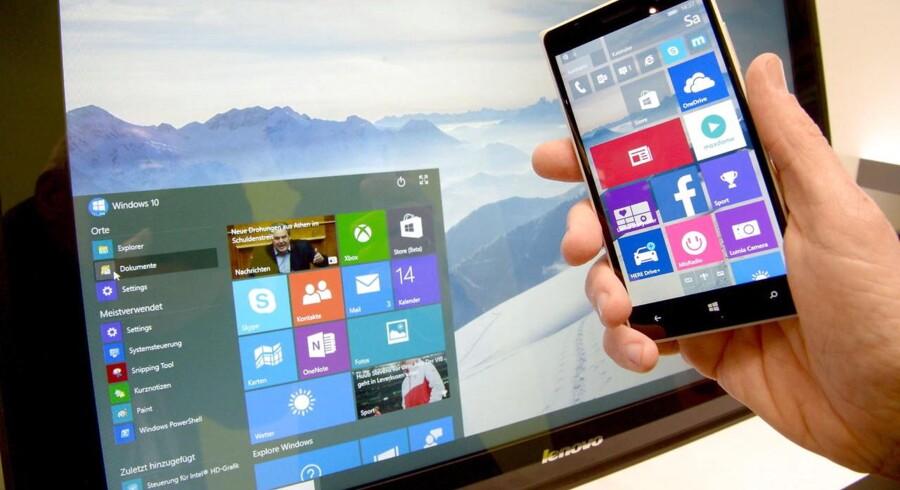 Windows 10 blev lanceret for et år siden, og forleden kom så den første, store opdatering et år efter premieren. Men det er gået grueligt galt for Microsoft, for mange har fået problemer og kan ikke starte computeren igen. Arkivfoto: Peter Steffen, EPA/Scanpix