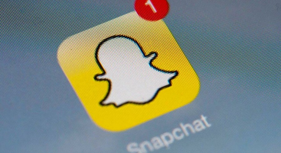 Den fire år gamle billed- og filmdelingstjeneste Snapchat vil nu også på børsen og håber at kunne vende den negative stemning, der i øjeblikket er omkring teknologiaktier. Arkivfoto: Lionel Bonaventure, AFP/Scanpix