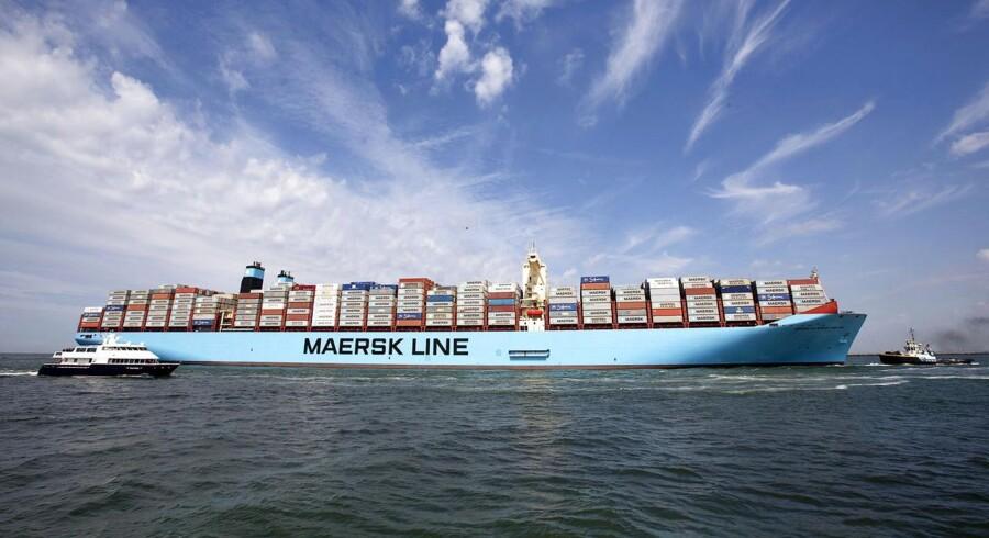 Her ses Mærsk majestics søsterskib, Mærsk Mc-Kinney Møller, der anløb Rotterdam havn 16. august.