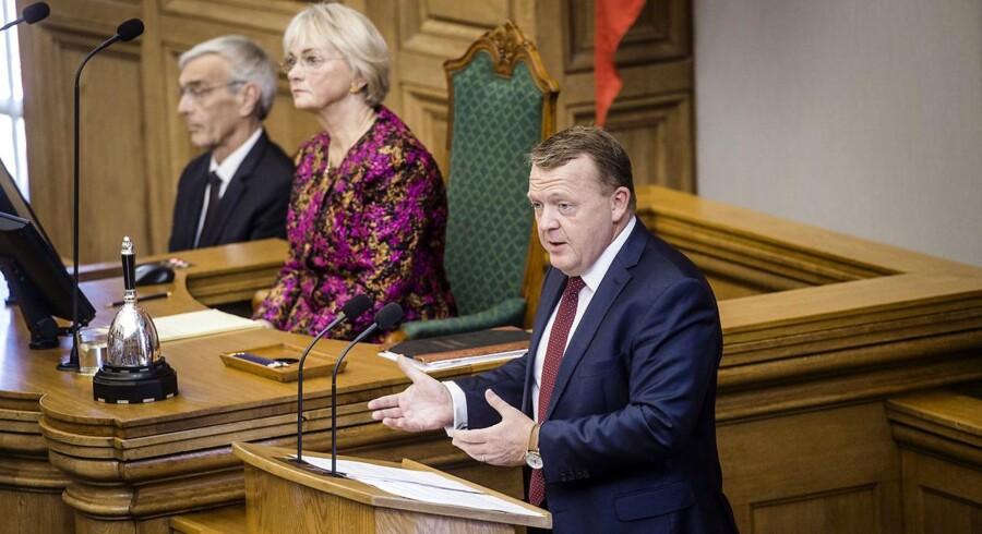 Statsminister Lars Løkke Rasmussen (V) under sin åbningstale tirsdag i Folketinget.