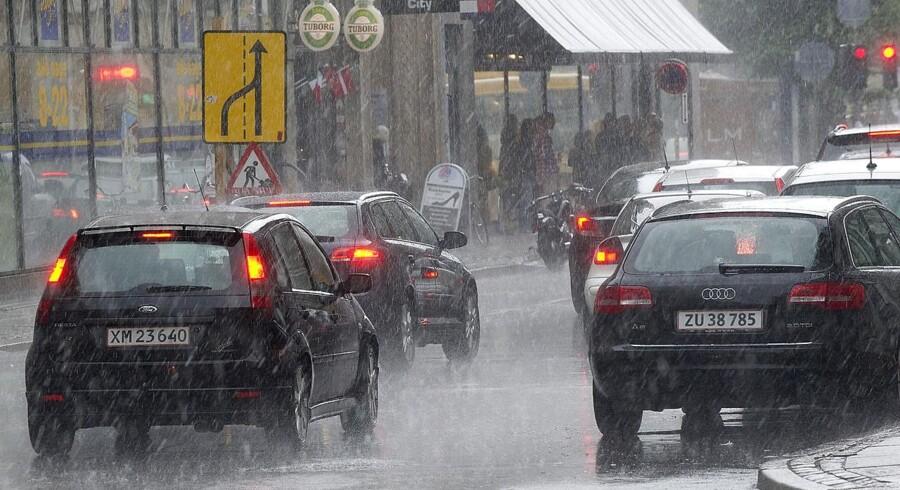Arkivfoto. Flere steder i landet har oplevet kraftig regn, mens der i Køge og Roskilde har været lokale skybrud.