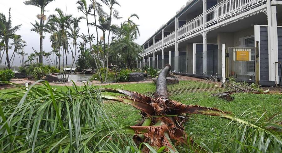 En monstercyklon kom tirsdag ind over kysten i det nordøstlige Australien og forvoldte store ødelæggelser, styrtregn og strømafbrydelser i tusindvis af hjem, rapporterer BBC.