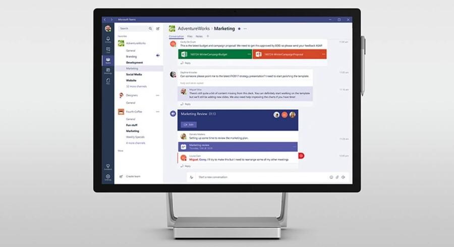 Microsoft Teams er en udvidelse af Office-pakken, så man kan arbejde sammen i virtuelle rum og projekter. Foto: Microsoft
