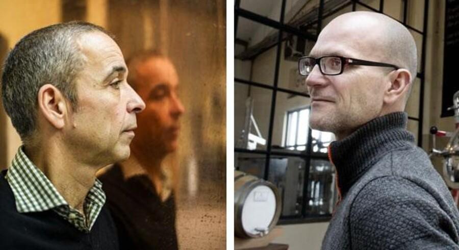 Det er Michaels (til venstre) og Claus' mellemnavn, der er blevet til virksomhedens navn, Bryghuset Braunstein, mens Braunstein er efterfulgt af et Poulsen. Fotos: Sara Gangsted og Niels Ahlmann Olesen