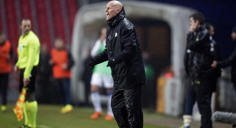 FCKs cheftræner Ståle Solbakken under kampen mellem FCK og FC Helsingør i Telia Parken.