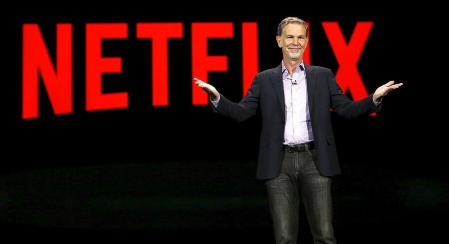 Netflix' topchef og medstifter, Reed Hastings, henter ikke nye kunder i samme tempo som forventet og får nu konkurrence af Amazon i USA. Arkivfoto: Steve Marcus, Reuters/Scanpix