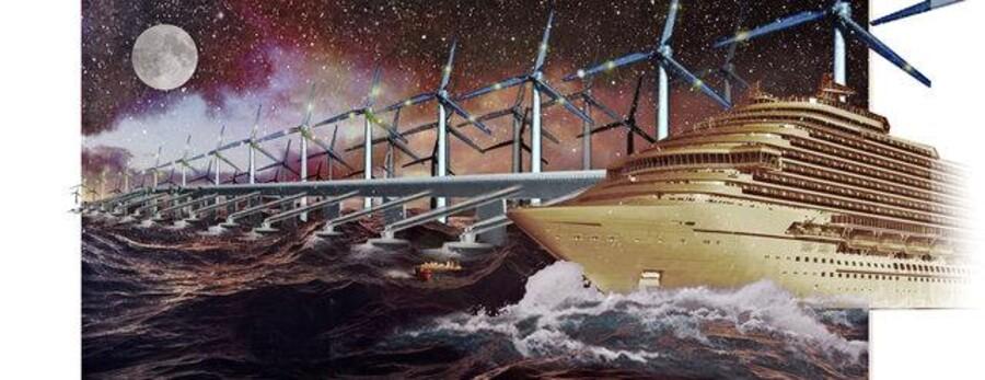 Fremtiden kunne byde på kæmpe vindmøller og bølgeanlæg langt ude i havet, hvor boreplatformene står nu. Illustration: Schønherr