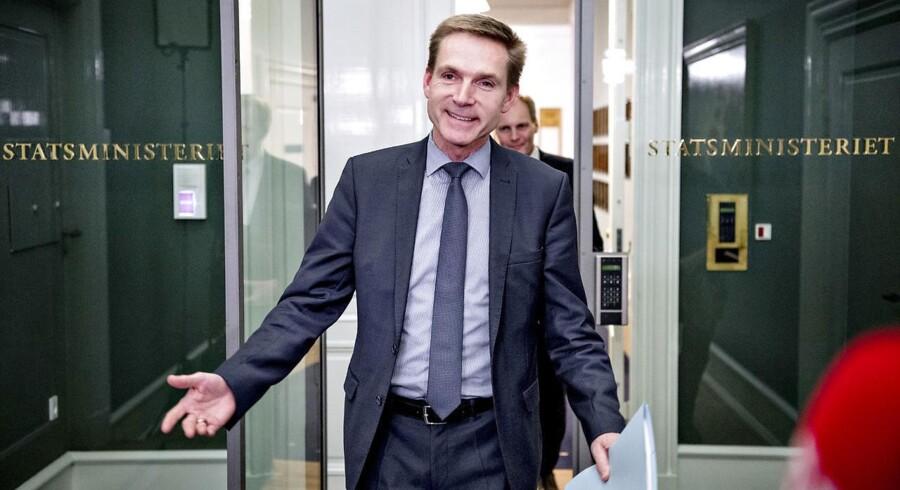 Kristian Thulesen Dahl (DF) efter mødet onsdag aften den 6. december 2017 med Lars Løkke Rasmussen (V) i Statsministeriet om, hvordan forhandlingerne om en skattereform og finansloven skal fortsætte. (Foto: Bax Lindhardt/ Scanpix)