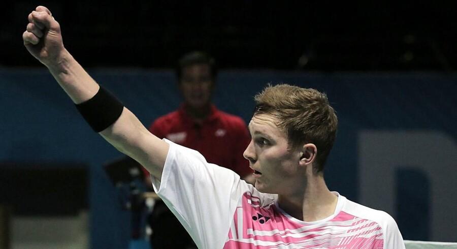 Viktor Axelsen vinder sæsonfinalen i Dubai for anden gang. / AFP PHOTO / MAHMOUD KHALED