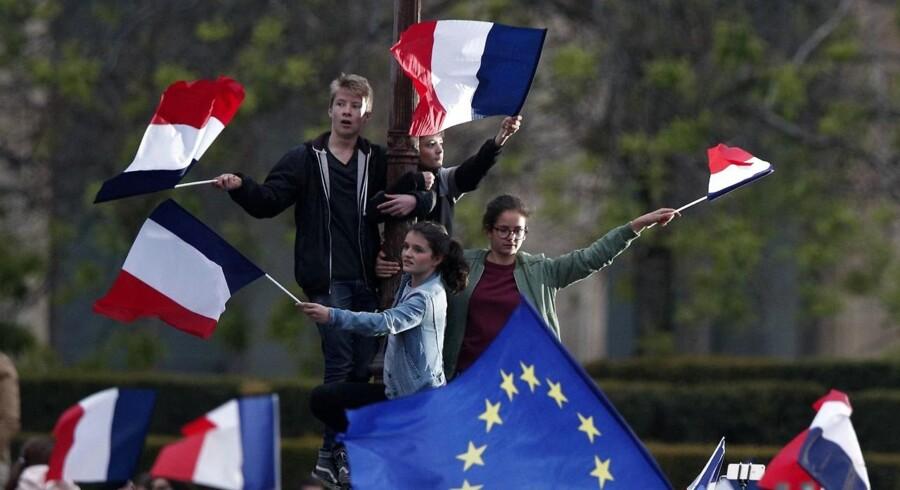 Britiske Brexit-tilhængere og den britiske regering forbereder sig på, at Frankrig med Emmanuel Macron har fået en præsident, der ønsker at styrke EU. Foto: Yoan Valat/EPA