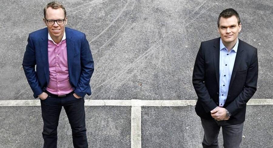 Lånet fra Væstfonden har haft stor betydning for, at Kasper Haugaard (tv.) og Anders Dohns (th.) virksomhed Copenhagen Optimization, hurtigt kunne få sin lufthavnsoftware Better Airport på markedet. PR-foto