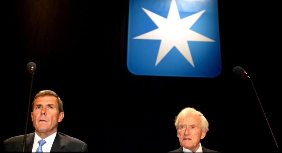 Generalforsamling hos A.P. Møller. Mærsk Mc-Kinney Møller (th.) og reder Jess Søderberg (tv.) på A. P. Møllers generalforsamling i 2002. Arkivfoto: Liselotte Sabroe