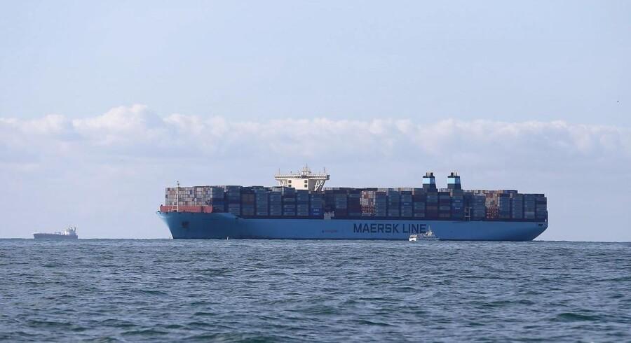Arkivfoto. Der står igen Maersk Line langs siden af verdens største containerskib.NB: Dette er ikke et billede af Madrid Maersk Container Ship. Billeder af skibet forventes offentliggjort ved udgangen af april måned.