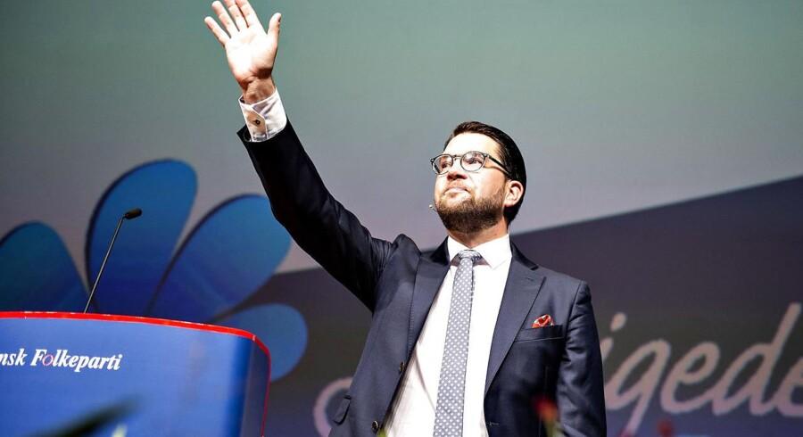 Formanden for Sverigedemokraterna Jimmie Åkesson efter sin tale til DF's Årsmøde der startede i Herning Kongrescenter, lørdag den 15. september 2018.