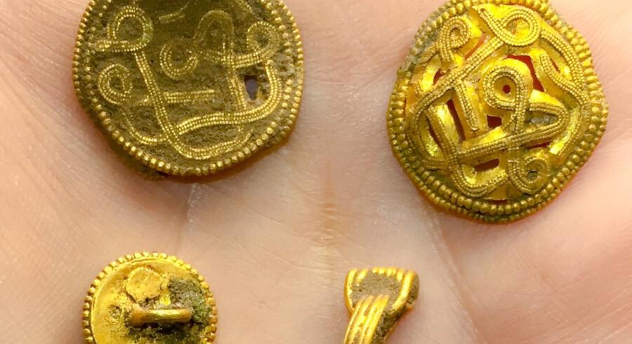 Amatørarkæologer udstyret med metaldetektorer har gjort et enestående guldfund på øen Hjarnø i Horsens Fjord. Her ses nogle af de fundne guldsmykker. VejleMuseerne/Free