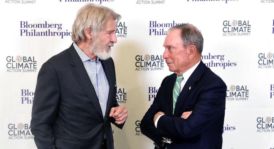 Tidligere borgmester i New York City, Michael R. Bloomberg (th.) taler her med skuespilleren Harrison Ford under åbningen af Global Climate Action Summit i San Francisco, i sidste uge.