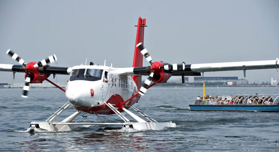 Vandflyveren er af typen Twin Otter og er oprindeligt fra 1979, men er totalrenoveret, inden den blev sat i drift. Her ses den i Københavns Havn i 2016. Arkivfoto: Jens Nørgaard Larsen/Ritzau Scanpix