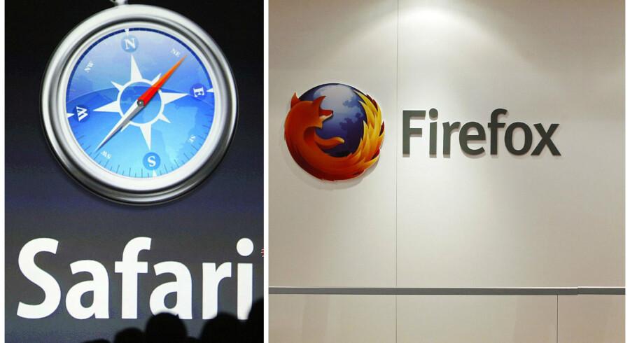 Både Safari og Firefox optrapper nu værnet mod overvågning, når man surfer rundt på nettet. Arkivfotos: John G. Mabanglo, EPA/AFP/Scanpix og Albert Gea, Reuters/Scanpix