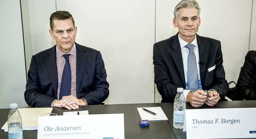 I Danske Banks egen undersøgelse af hvidvasksagen blev topledelsen frikendt for at have misligeholdt deres juridiske forpligtelser over for banken. Her ses den afgående topchef Thomas Borgen og bestyrelsesformand Ole Andersen.