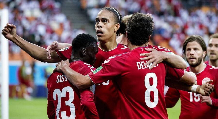 Yussuf Yurary Poulsen til 1-0 under kampen mellem Danmark-Peru på Mordovia Arena i Saransk lørdag dag den 16 juni 2018.