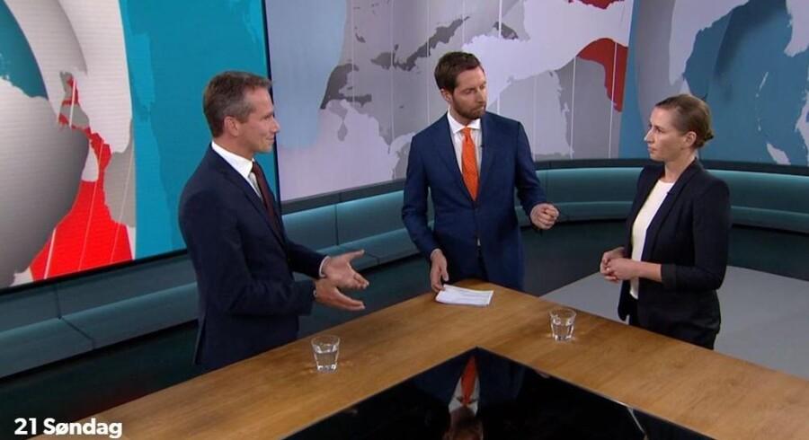 »Der er altså en række ting, der kræver, at I lægger jeres politik åbent frem,« sagde Kristian Jensen, da han stod ansigt til ansigt med Mette Frederiksen i »21 Søndag«.