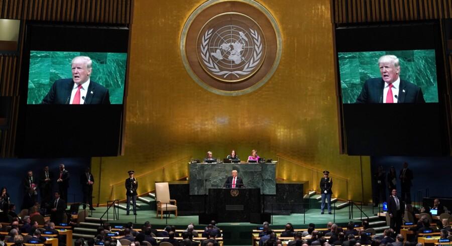 Præsident Donald Trump skal onsdag for første gang lede et møde i FN's Sikkerhedsråd. Han ventes igen at lange ud efter Iran, selv om han forventes at udvise diplomatisk pli og samarbejdsvilje. Timothy A. Clary/Ritzau Scanpix