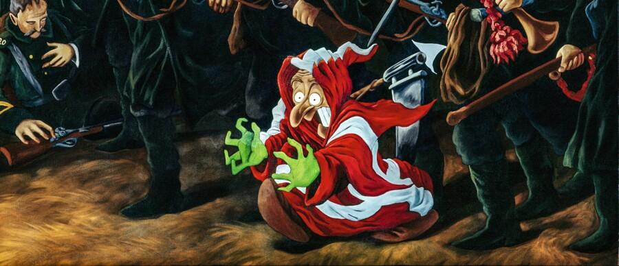 Venstrefløjen brugte 1864-nederlaget til at advare mod oprustning og krig, mens højrefløjen brugte det til at opfordre til at styrke landet militært. Lige fra 1864 blev nederlaget brugt til vidt forskellige fortolkninger og kunstneriske udlægninger. Her er det Martin Bigum, der har genanvendt Wilhelm Rosenstands maleri: Episode af Ottendes Brigades Modstød (1894). Rosenstands maleri viste danskernes mod til at forsvare sig og var nationalt sindet, mens Bigums maleri fra 1996 synes at have det omvendte budskab. Maleriet er spejlvendt, så soldaterne løber tilbage, og det er forsynet med en lille trold iklædt Dannebrog, der ikke synes særlig venlig stemt over for nationale følelser. Soldaterne stirrer nu ikke heroisk frem for sig, men har tomme stirrende blikke.