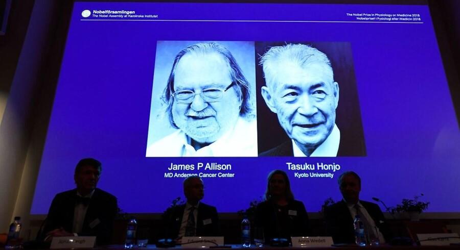 Amerikaneren James P. Allison og japaneren Tasuku Honjo vinder årets Nobelpris i medicin for deres arbejde med kræftbehandling.