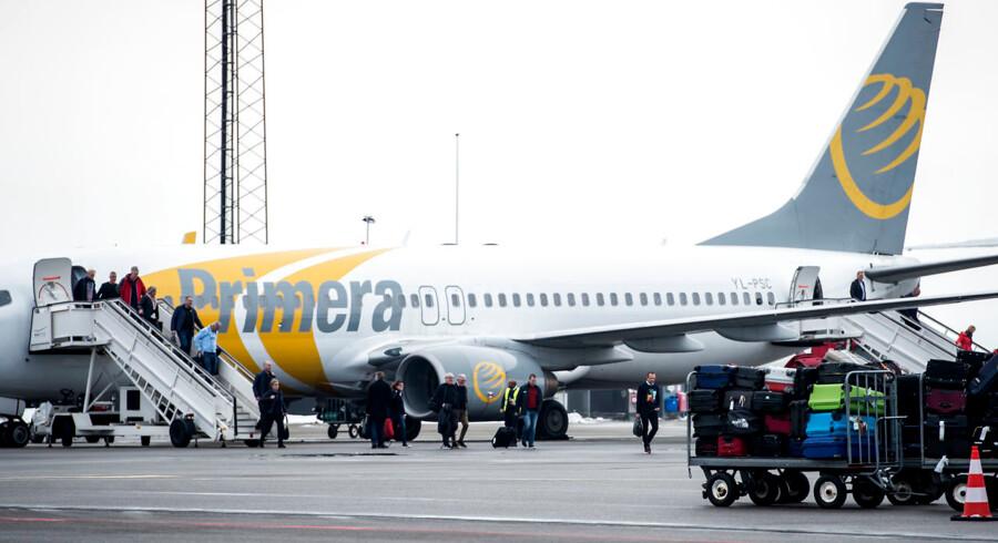 Flyselskabet Primera Air gik konkurs 1. oktober. Nu skal kuratellet klarlægge selskabets gæld. Arkivfoto.