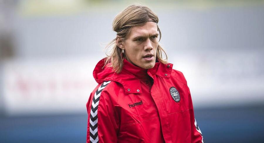 Jannik Vestergaard til træning med landsholdet i Helsingør, torsdag den 9. november, 2017. Fodboldlandsholdet er samlet i Helsingør op mod playoff kampene mod Irland, torsdag den 9. november, 2017.
