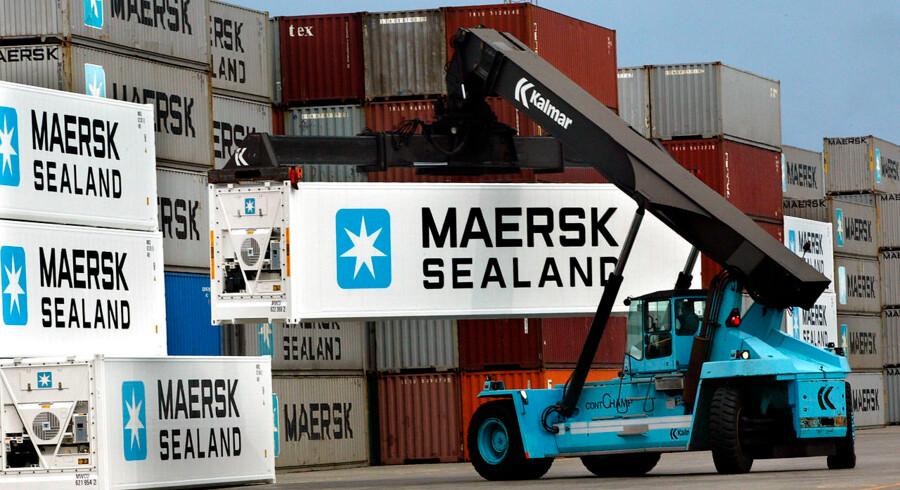 ARKIVFOTO 2002 af Mærsk containere- Se RB 9/11 2012 08.15. A.P. Møller - Mærsk fastlægger forventningerne til 2012. Koncernen venter et resultat omkring 3, 7 mia. dollar - hvor det i 2011 var på 3, 4 mia. dollar. (Foto: PALLE HEDEMANN/Scanpix 2012)
