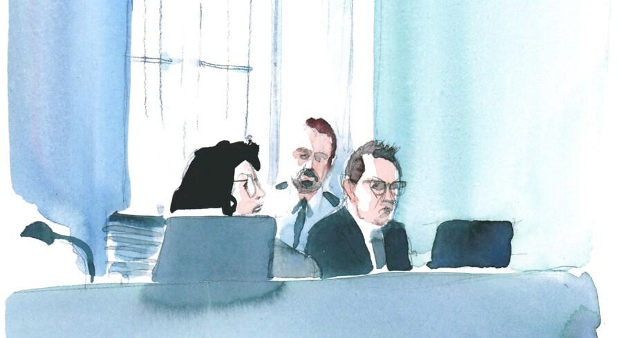Tegnet af Jens Hage. Peter Madsen i retten.