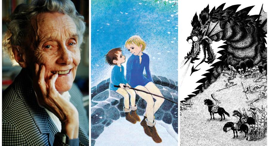 »Som alle gode børnebøger er »Brødrene Løvehjerte« to bøger i én. Én for børnene, en anden for forældrene. Én bogstavelig historie om en dreng, der elsker sin storebror og slås mod en grusom mands hær. En anden fuld af overført betydning: En antikrigsroman, en udviklingshistorie om vejen fra dårlig selvtillid til selvværd, en fortælling om døden som udfrier,« skriver Berlingskes anmelder.Foto Scanpix og Ilon Wiklands illustrationer fra »Brødrene Løvehjerte«.