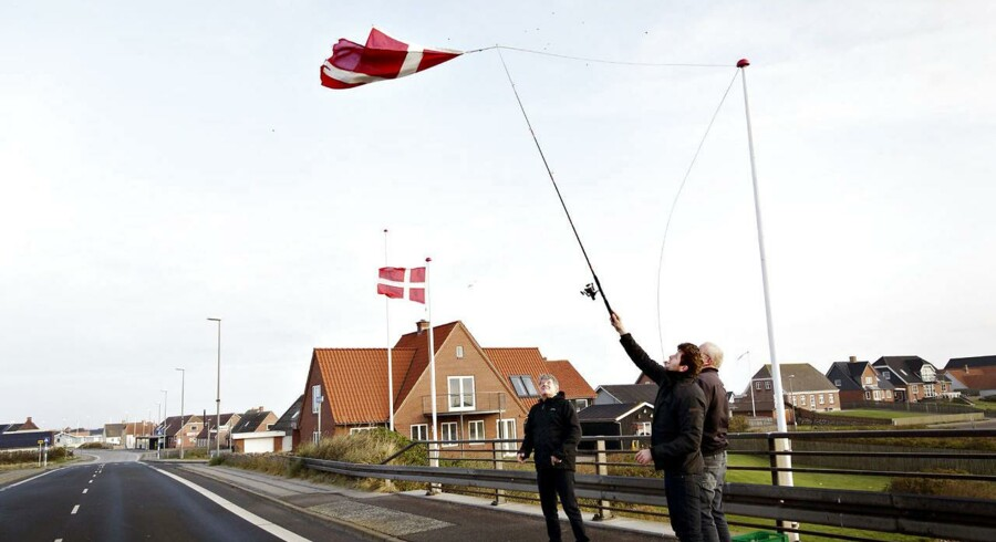 Lørdag morgen mødes dele af Borgerforeningen for at lave en flagallé, fordi en beboer fejrer rund fødselsdag senere på dagen. Her er det Dennis Andersen, Mads Aamann og Troels Aamann, som forsøger at fange et vindblæst flag med en fiskestang. Foto: Astrid Dalum.