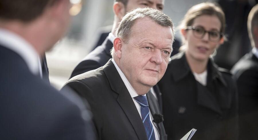 Statsminister Lars Løkke Rasmussen (V) ved præsentationen af regeringens klimaudspil i tirsdags. Forud er gået en længerevarende armlægning mellem flere ministerier, fortæller flere kilder til Berlingske.