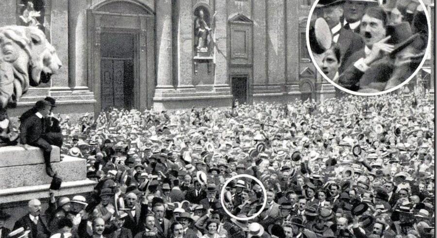 Billedet, som grundlagde nazisternes fødselsmyte - og som på flere leder er løgn. Foto: »Hitler's First War,« af Thomas Weber