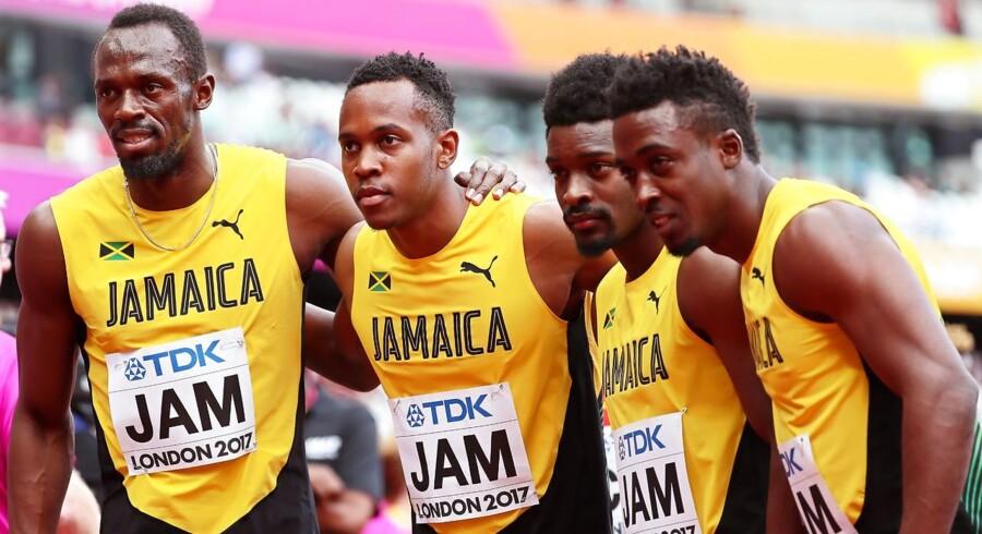 Usain Bolt, Julian Forte, Michael Campbell, ogTyquendo Tracey efter deltagelse i 4x100m til VM i London, August 2017. EPA/SRDJAN SUKI