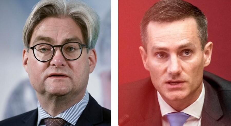 Forhenværende justitsminister Søren Pind (V) og nuværende erhvervsminister Rasmus Jarlov (K) begav sig ud i en infight på Twitter om Finanstilsynets indblanding i Danske Banks valg af ny topchef.