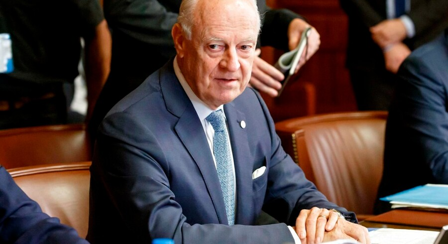 UN Special Envoy of the Secretary-General for Syria Staffan de Mistura attends a meeting on creating a committee to help draft a new constitution for Syria, at the European headquarters of the United Nations in Geneva on September 11, 2018. - Representatives of Russia, Turkey and Iran, are meeting with the UN Special Envoy of the Secretary-General for Syria to discuss the situation in the war-torn nation. (Photo by SALVATORE DI NOLFI / various sources / AFP)